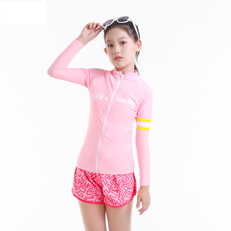 2019 New Style Hot Sales CHILDREN'S Swimwear Split Bikini Solid Color Sporty Hipster GIRL'S Girls Swimwear