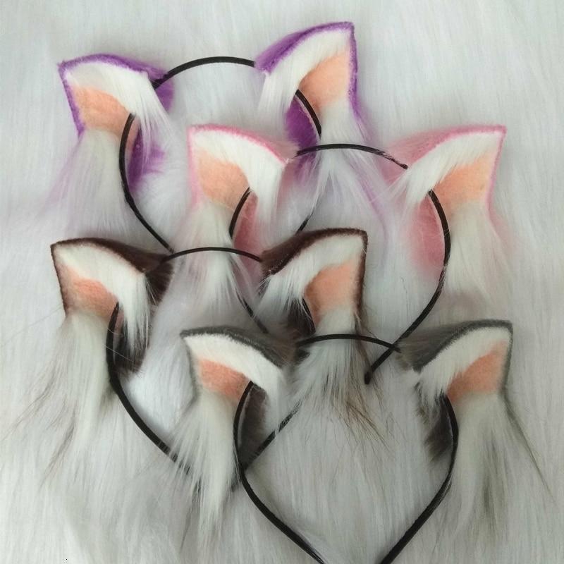 New Magic Cat Ears Headwear Hand Work Headband White Black Purple Fur Hair Hoop Hair Decorate Accessories