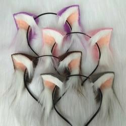 New Magic orecchie di Gatto cappelli di Lavoro A Mano fascia bianco nero viola di pelliccia Dei Capelli Del Cerchio Dei Capelli Decorare accessori