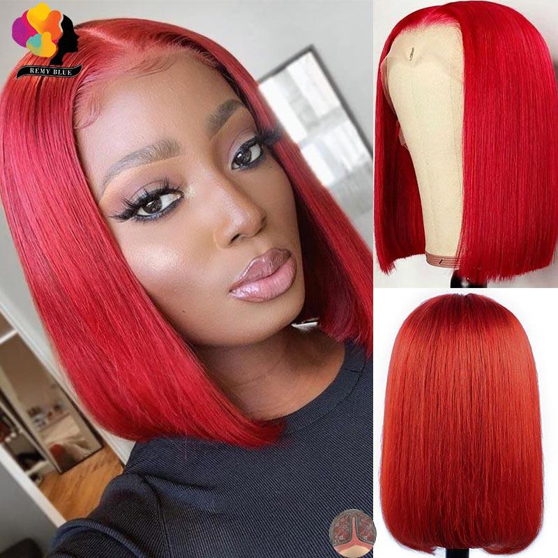 Красные короткие боб парики из натуральных волос с Африканской структурой, часть синтетические волосы парики шнурка предварительно перуан...