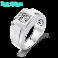 1ct 6.5mm D rond 925 argent Moissanite anneau diamant Test passé bijoux fête mariage pierre gemme anneau pour hommes avec certificat
