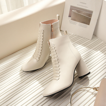 Women Ankle boots Genuine Leather PLUS SIZE 22-26.5 cm feet length boots for women Chelsea boots high heel boots