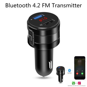Handsfree Bluetooth 4.2 FM Transmitter Modulator Car Charger 3.1A Dual USB Adapter Car MP3 Player Wireless Audio Receiver Black(China)