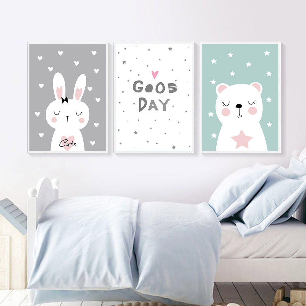 Cartoon Rabbit Bear Wall Art Canvas Poster Print Nursery Paintings Quotes Pictures Baby Kids Room Decor