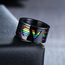 Modyle – bague rotative en acier inoxydable brillant pour hommes, anneau de mariage, amour, arc-en-ciel, anti-Stress, bijoux LGBT