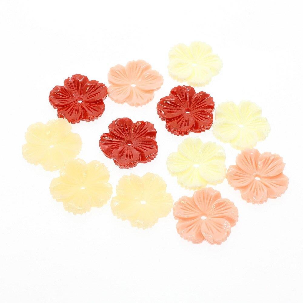 5 unidades/pacote forma de flor coral sintético solta contas nova mão esculpida gesang flor forma 20mm diy acessórios vermelho amarelo arroz rosa