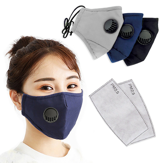 PM2.5 Cotton Adult Mouth Mask Anti Dust Valve Mask Activated Carbon Filter Windproof Mouth-muffle Bacteria Proof Flu Face Masks