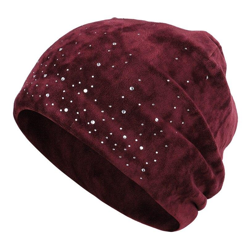 Новинка, модная женская шапочка, блестящие стразы, Осень-зима, Женская Повседневная шапка, Женская бархатная мягкая шапка Skullies Bonnet - Цвет: Wine-1