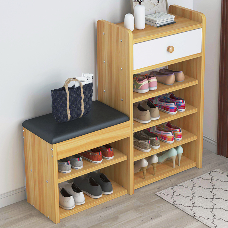 Wooden Shoes Cabinet Modern Change Shoes Bench Shoes Rack Set Multi-functional Drawer Shoes Shelf For Doorway