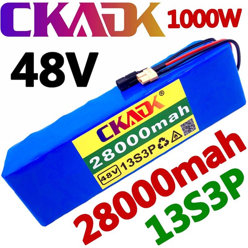 2020 Новый CKADK 48V батарея 13s3p 28Ah батарейный блок 1000W высокая мощность батареи, фара для электровелосипеда в электрических велосипедов BMS с xt60 шт...