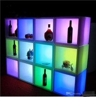 New led furniture Waterproof Rechargeable LED display bar cabinet 40CMx40CMx40CM colorful changed wine cabinet bar disco supply