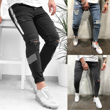 Ripped Jeans for Men Streetwear Pencil Pants Casual Hole Destroyed jeans homme Denim Jeans Fashion Trousers Stretch Skinny Jeans zips embellished destroyed jeans