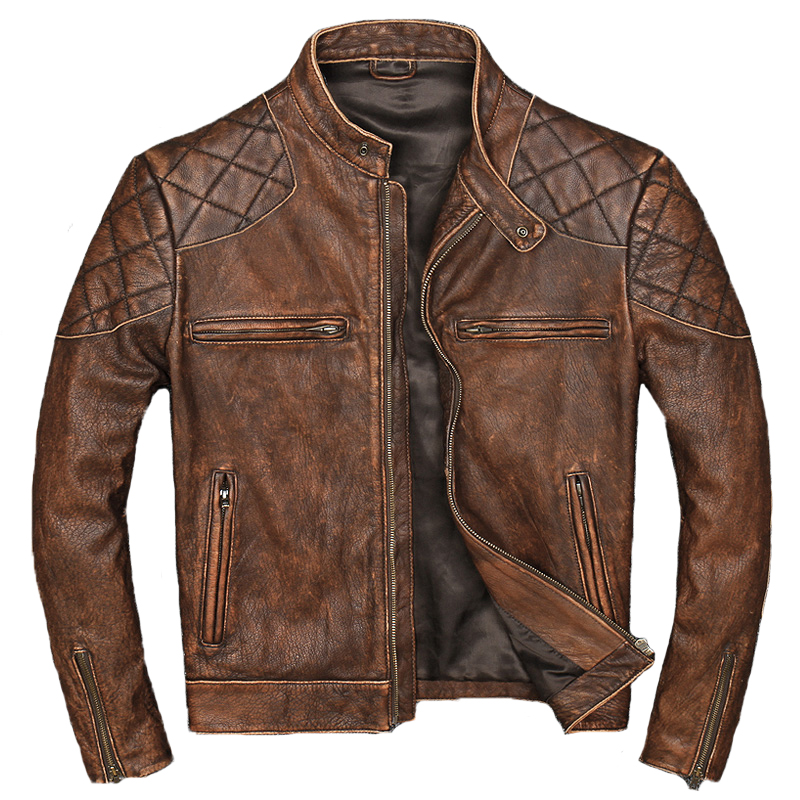 2019 Men's Genuine Leather Jacket Vintage Motorcycle Leather Jackets Cowhide Stand Collar Slim Fit Coat For Male