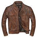 2019 jaqueta de couro genuíno dos homens do vintage da motocicleta jaquetas de couro colar fino ajuste casaco para o sexo masculino