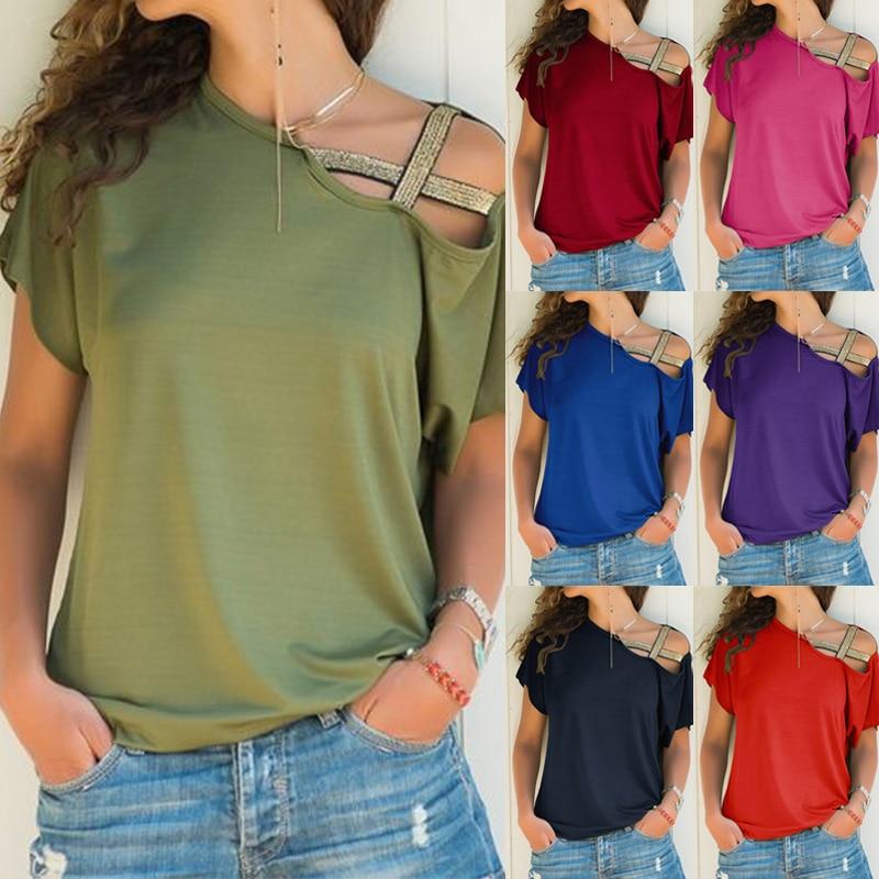 Women Skew Neck T Shirt Summer Irregular Criss Cross Short Sleeves Sexy Off Shoulder Solid Tops Blusa Femme One Shoulder Shirt