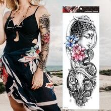 Реалистичный временный рукав с татуировкой рука Будда лотос