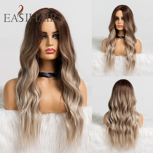 EASIHAIR Long Brown Ombre Synthetic Wigs Natural Hair Wigs for Women High Temperature Fiber Wave Daily Cosplay Wigs