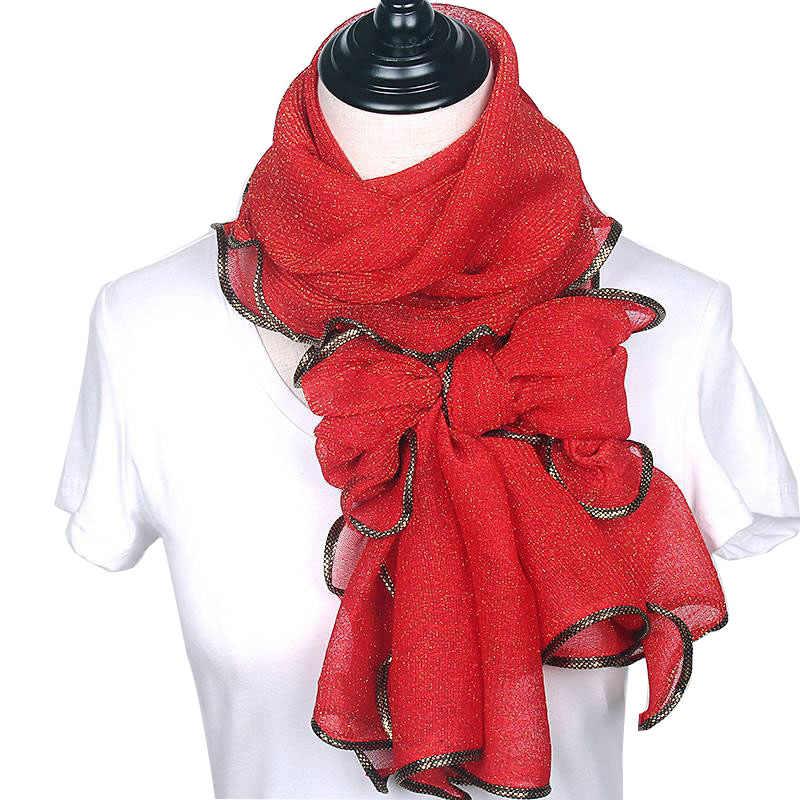 Neue Ankunft Seide Schals Lange Trendy Frauen Gaze Plain Farbe Schal Wrap frauen Atmen Absorbieren Schweiß Spitze Schal