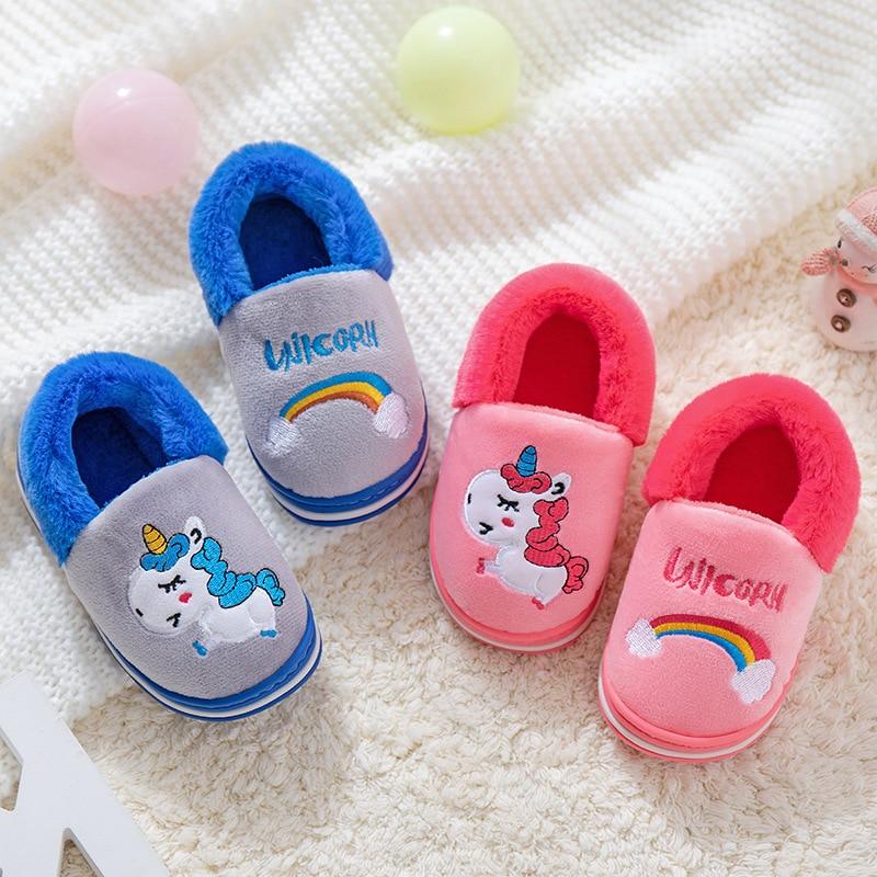 Winter Slippers For Kids Unicorn Toddler Girl Flip Flops Plush Slides Baby Boys Indoor Shoes Cotton Warm House Children Slippers