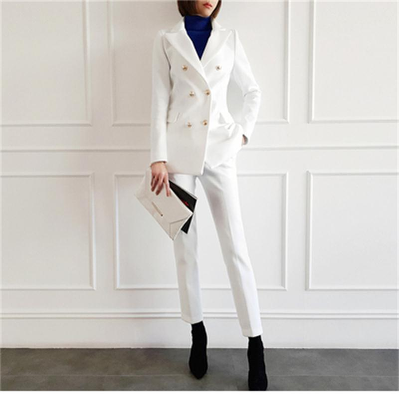 Fashion Suit Suit Female Spring New High Quality White Casual Business Suit  + Pants OL Two-piece Suit Women Work Clothes