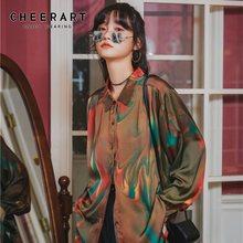 Женская Переливающаяся блузка cheerart свободная рубашка с длинным