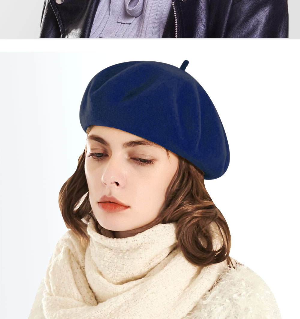 Elegant Lady Women Wool Felt Warm French Classic Beret Beanie Slouch Hat Cap Tam 24