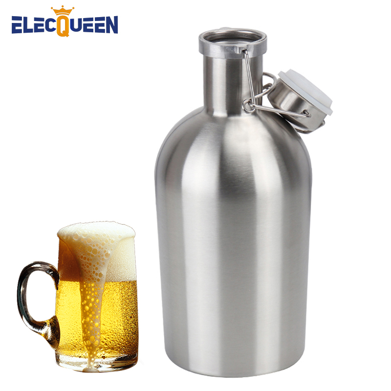 64 Oz Stainless Steel Beer Growler, 1.9 Liter Beer Bottle With Swing Top Keeps Homebrew Fresh And Cold With Tight Airtight Seal