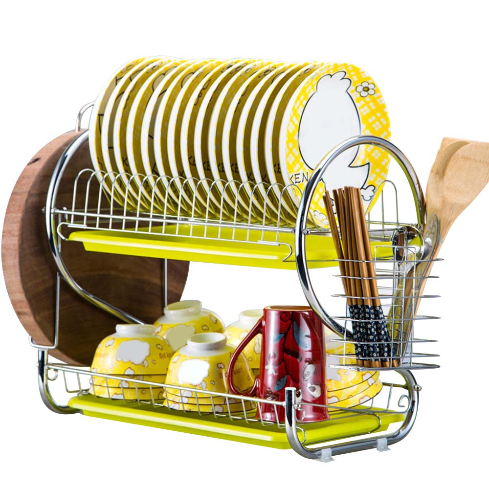 2 Tiers Dish Drainer Stainless Steel Drying Rack Bowl Dish Draining Shelf Dryer Tray Holder Kitchen Organizer