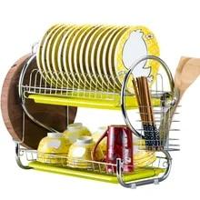 2 Tiers Dish Drainer Stainless Steel Drying Rack Bowl Dish Draining Shelf Dryer Tray Holder Kitchen Organizer