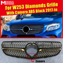 front grille suitable for glc class w253 gtr 2015 2018 x253 glc200 glc250 glc300 glc450 glc63 grille without central logo W253 GLC Class Grills Diamond Grille With Camera For MercedesMB W253 Sport GLC250 350 400 ABS Black Grille Without Sign 2017-in