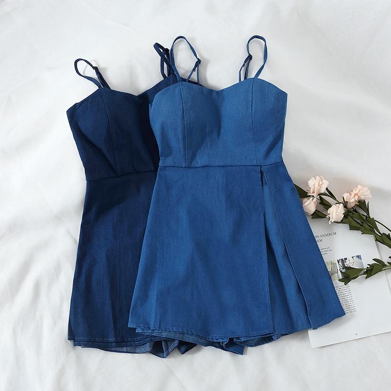 Summer Shorts Jumpsuits New Fashion Women Slim Bodycon Blue Romper Fashion Ladies High Waist Playsuits Woman Overalls
