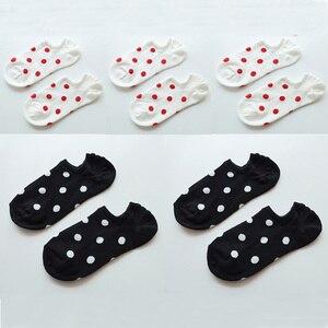 Image 2 - 5Pais/Lot Women Socks Short Cotton Aesthetic Novelty Dot Sweet Boat Socks Chaussette Femme Skarpety Kobieta Ankle Sock Woman