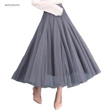6 disponível cor saia longa underskirt elástico estilo feminino de cintura alta moda sólida menina meia comprimento breathble rosa preto
