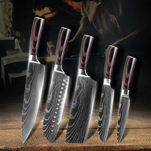 New Damascus Stainless Steel Kitchen Knife Set 5PCS High Quality Sharp Japanese Chef Cleaver Meat Wood Handle Cooking Knives