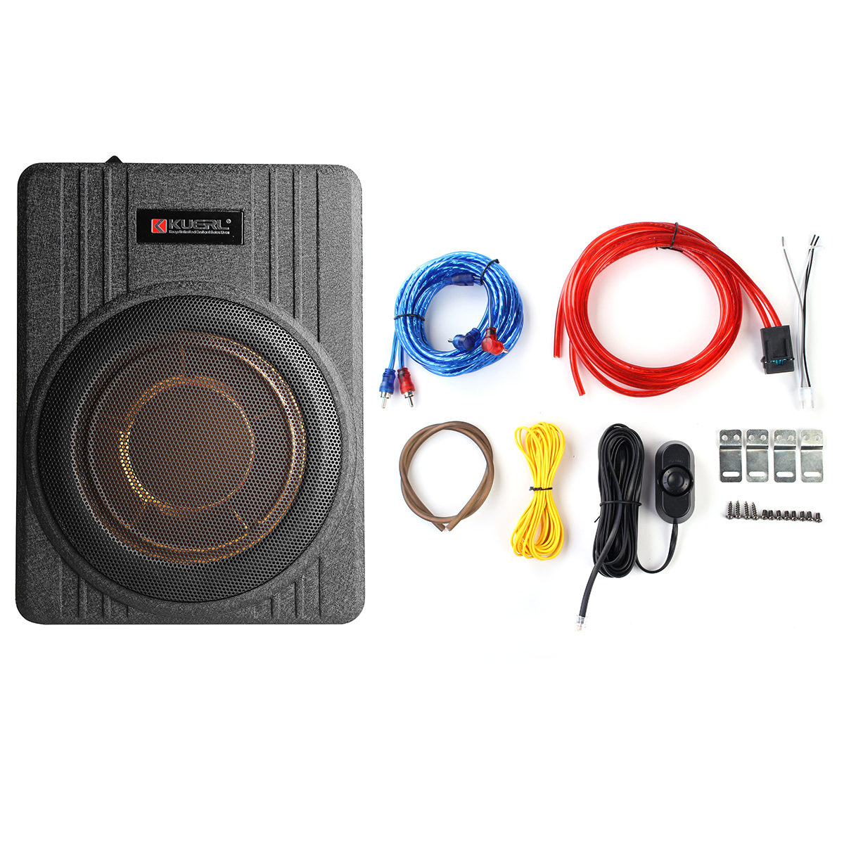 Subwoofer Slim Amplifier Speaker Remove-Control Under-Seat Active 10inch 600W Thin Car