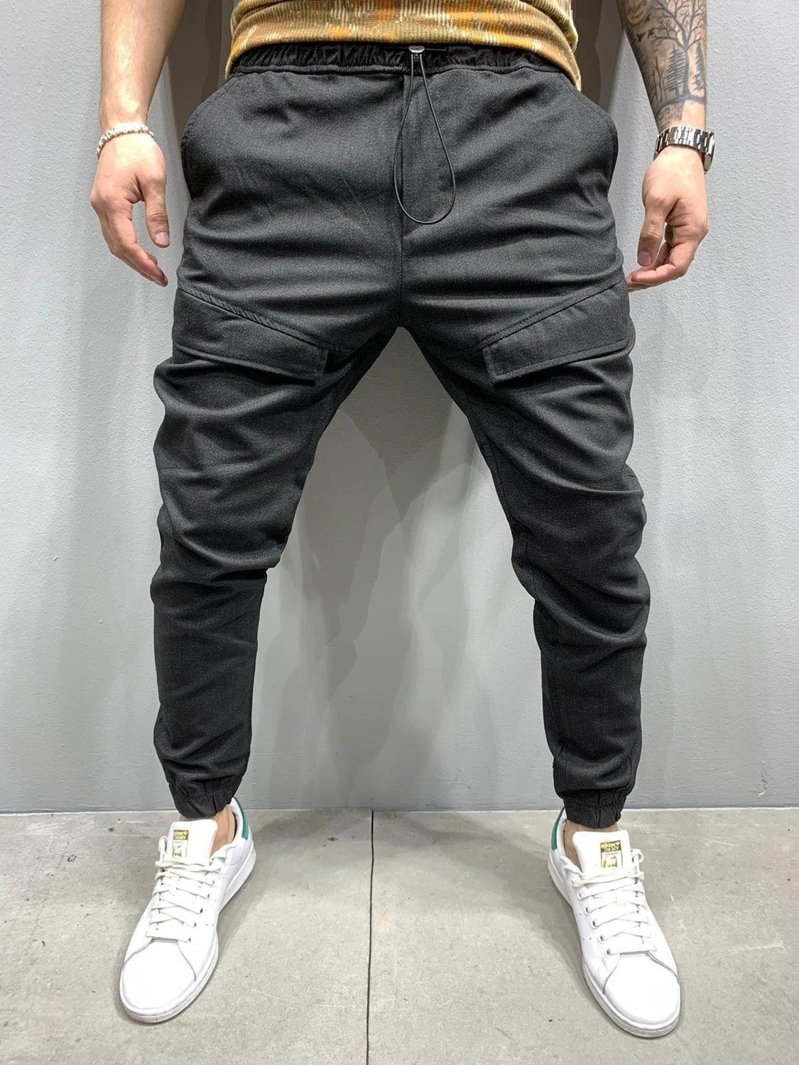 Men's Tethered Placket Suits Pants Tethered To A Solid Color Hip-hop Jogger Casual Pants Man