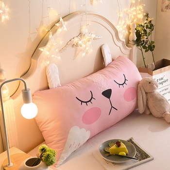 Cartoon Pink Rabbit Pillow Inner Kids Girls Bedroom Decor Cotton Round Body Cushion Rectangle Sleep Nap Pillow Home Gift