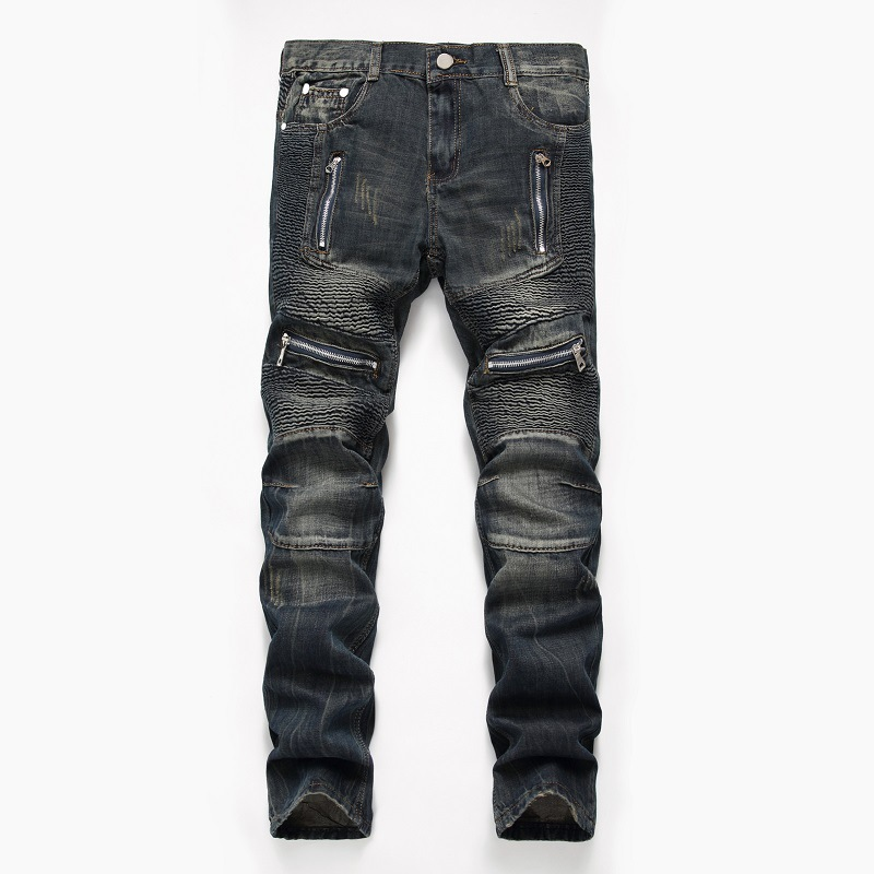 Denim Designer MOTO BIKE Straight Jeans For Men'S Size 28-38 40 42 2020 Autumn Spring HIP HOP Punk Rock Streetwear Trouers