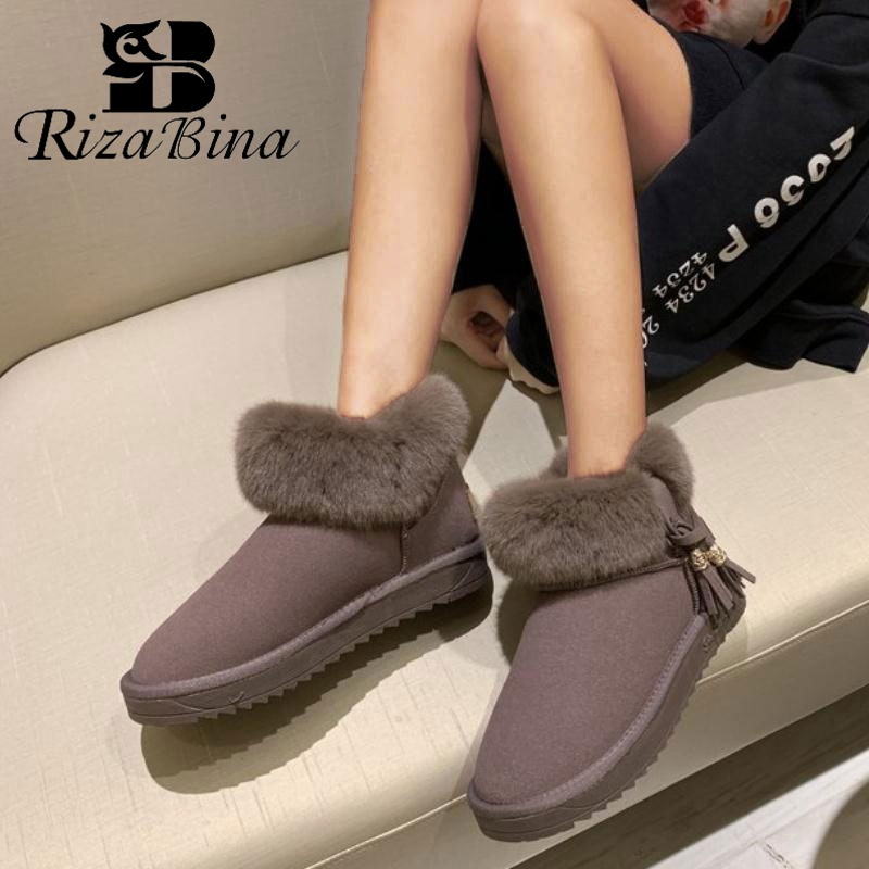 RIZABINA 5 Color Women Ankle Snow Boots Winter Keep Warm Thicken Fur Cotton Shoes Women Add Plush Casual Flats Boots Size 35-41 25