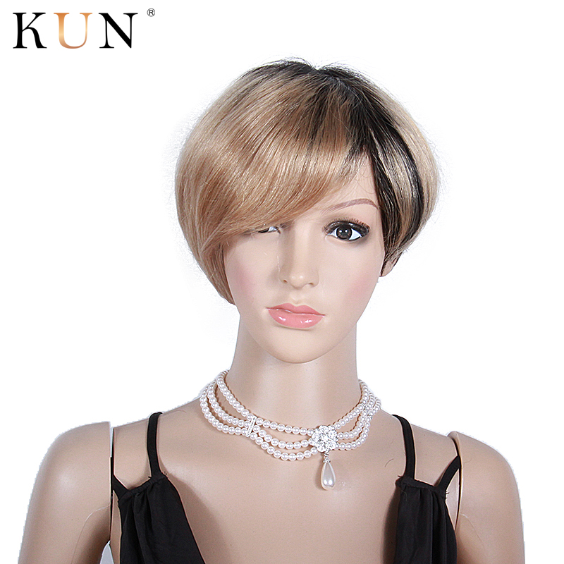 #27A Strawberry Blonde Short Human Hair Wigs 150 Density Machine Made Wig Brazilian Short Wig Pre Plucked Remy Glueless Wig