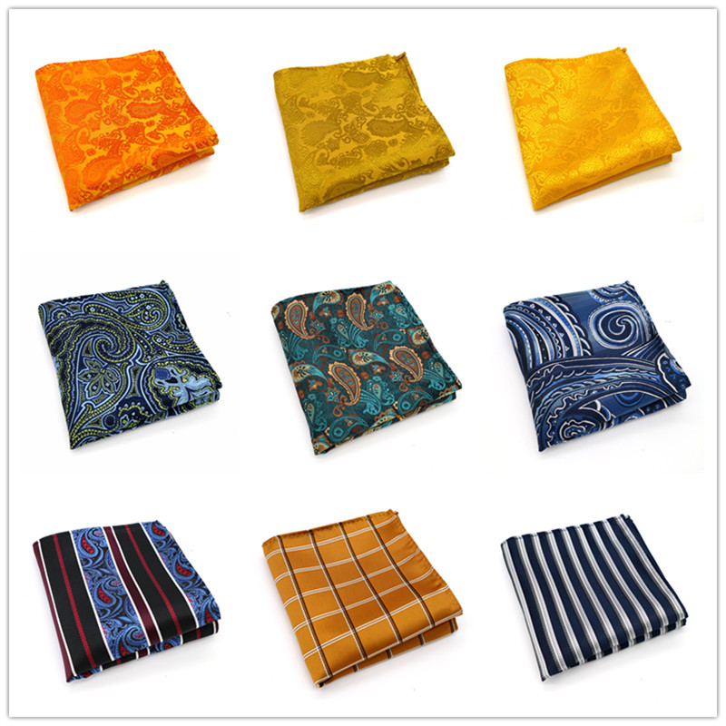 143-162 Various Men Paisley Stripes 100% Silk Satin Pocket Square Hanky Jacquard Woven Wedding Party Handkerchief 10 Inch