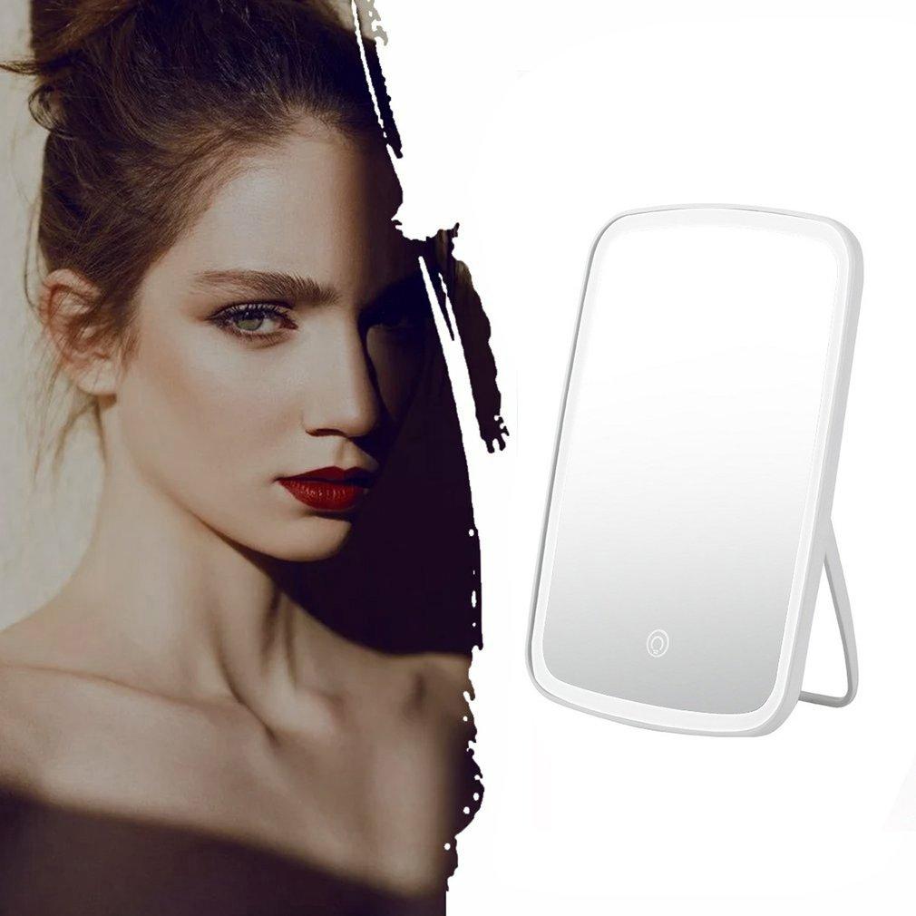 Домашнее зеркало для макияжа женщин настольный светодиодный