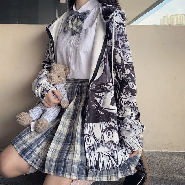 QWEEK Japanese Harajuku Anime Hoodie Hentai Zip Up 2021 Fashion Streetwear Women Kawaii Sweatshirts Korean Long sleeve Tops 3