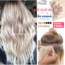 Neitsi Full Head Brazilian Natural Clip In Hair Extensions Human Hair With Lace Machine Remy Clip On Real Hairpiece 16