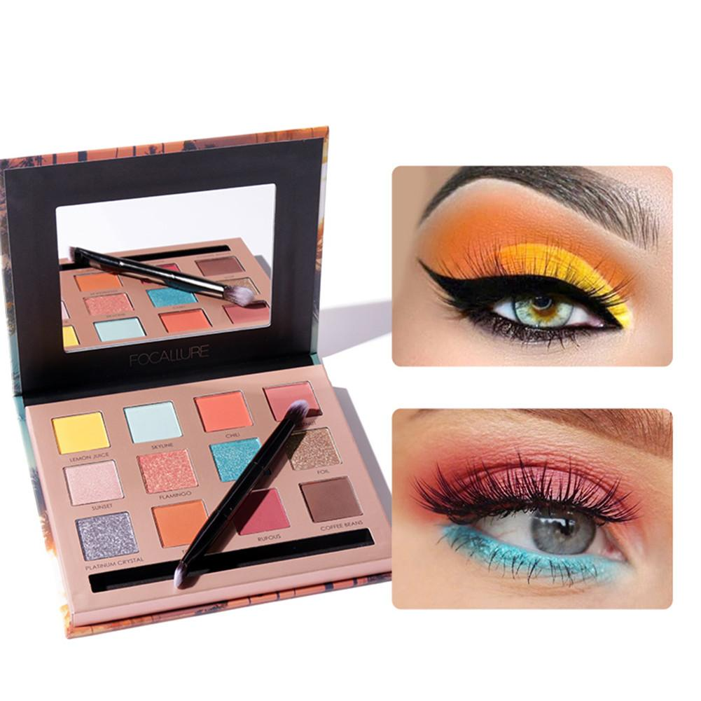 FOCALLURE Fashion Matte Pearlescent Glitter Eye Shadow Durable 12Colors Pigment Eye Shadow Palette Makeup Eyeshadow Cosmetic Kit