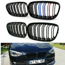 цена на For BMW F20 F21 1 Series 2011 2012 2013 2014 2015 Pre-facelift Black M Color Double Slat Line Front Racing Grill Kidney Grille