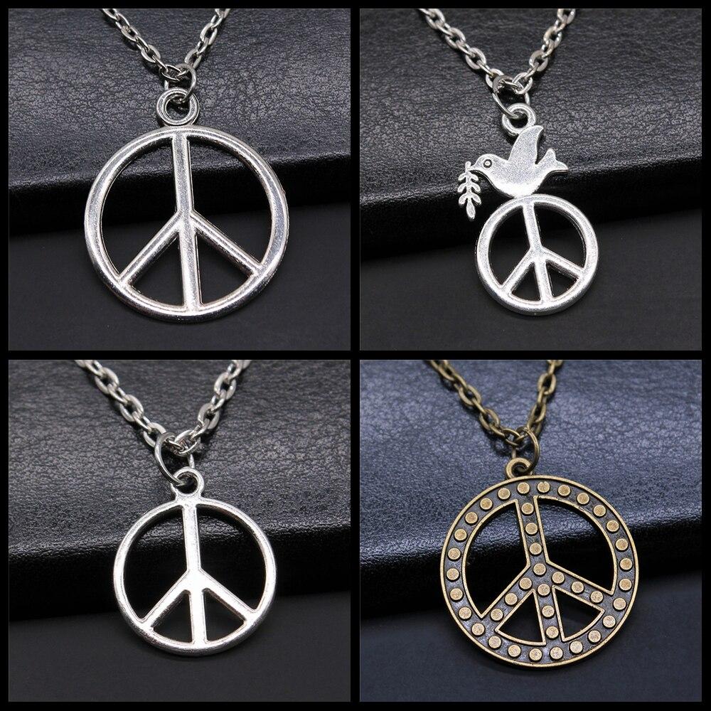 Vintage antigo cor de prata antigo bronze cor sinal de paz pingente colar símbolo da paz jóias colar amor paz jóias