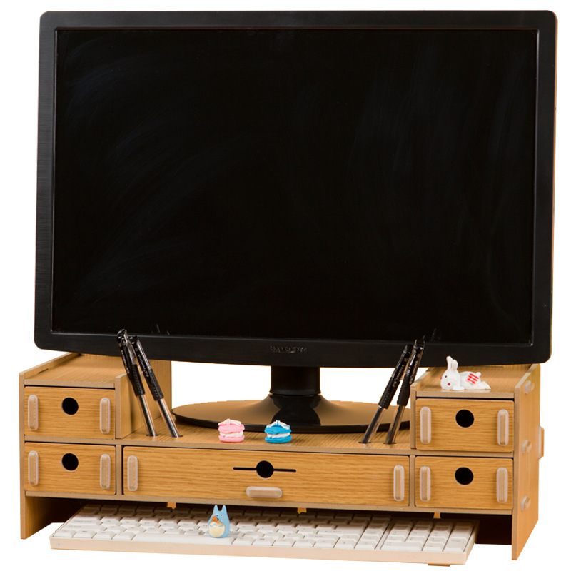 LCD Computer Tv Monitor Elevated Notebook Computer With Drawer Storage Rack Home Desktop Multifunctional Shelf
