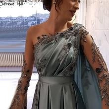 Serene Hill Dubai vestido de noche largo de satén con manga larga para mujer, con cuello redondo traje Sexy, diseño de vestir, vestido Formal de fiesta, CLA70505, 2020