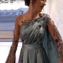 Синее соблазнительное вечернее платье Serene Hill Dubai с круглым вырезом и бисером, дизайнерское атласное ТРАПЕЦИЕВИДНОЕ ПЛАТЬЕ С Длинными Рукавами, официальное платье для вечеринки, 2020, CLA70505